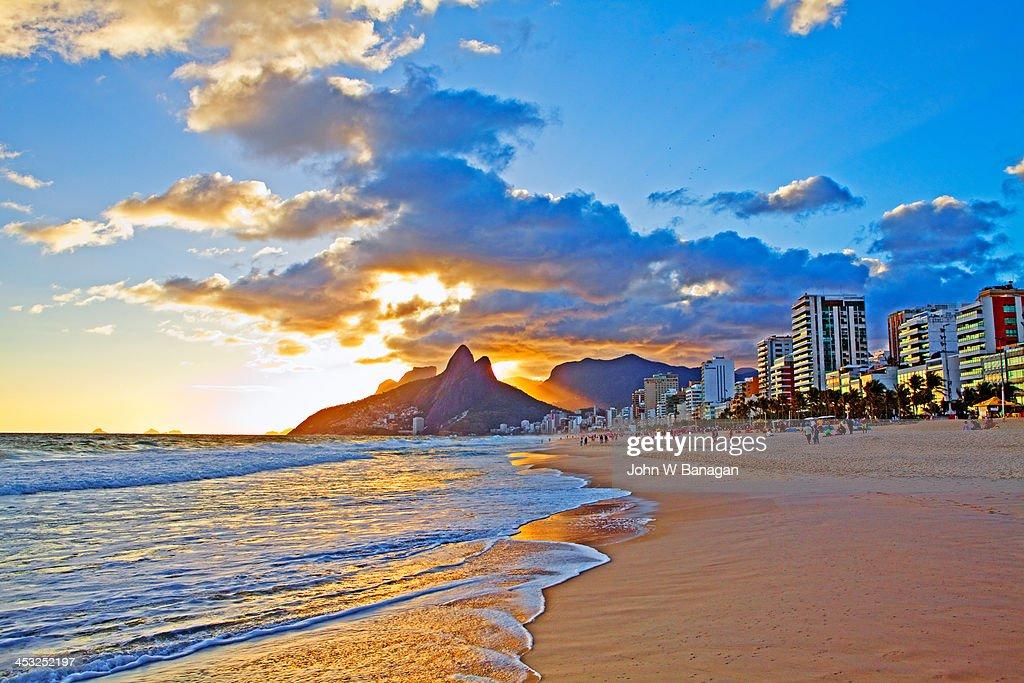 Sunset Ipanema Beach Rio De Janeiro Brazil Stock Photo