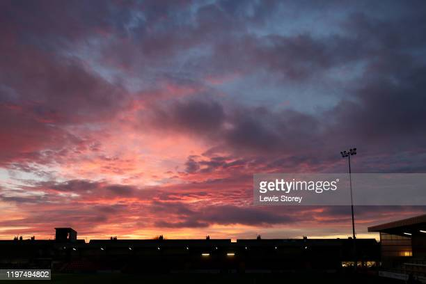 A sunset is seen prior to the FA Cup Third Round match between Fleetwood Town and Portsmouth FC at Highbury Stadium on January 04 2020 in Fleetwood...