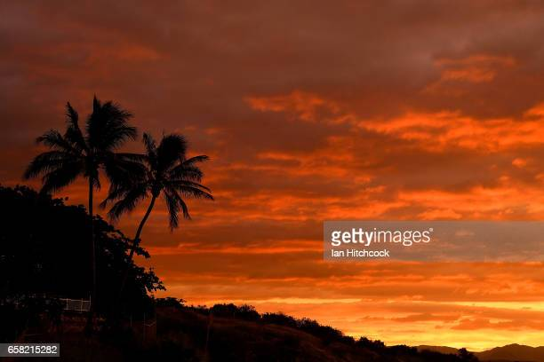 Sunset is shown at Kissing Point Townsville as Cyclone Debbie approaches the North Queensland coast on March 27 2017 in Townsville Australia Cyclone...