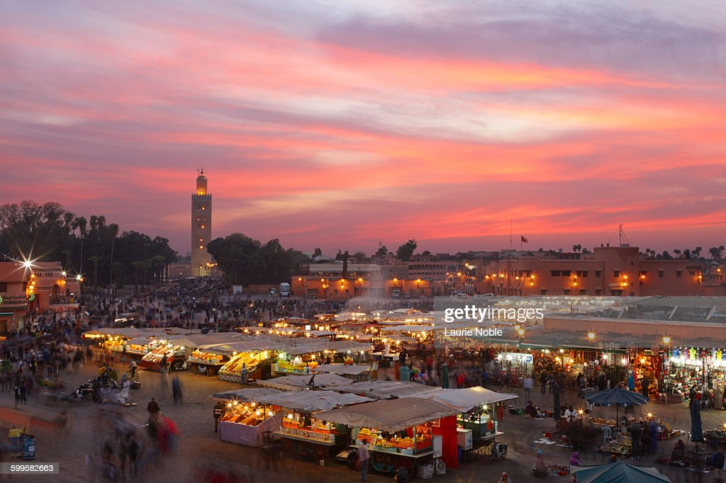 Sunset, Jemma El Fna, Marrakesh, Morocco : Stock Photo