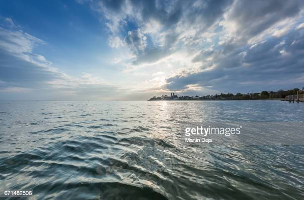 sunset lake constance - bodensee stock-fotos und bilder