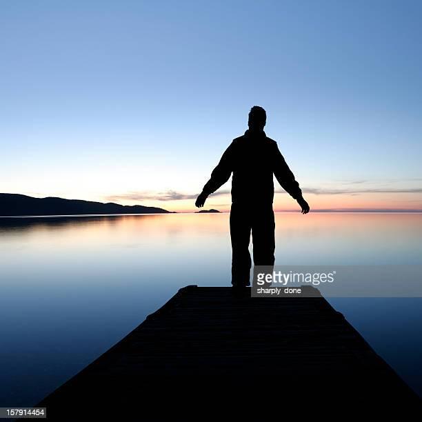 XXL sunset lake silhouette