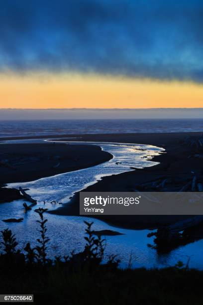 sunset landscape at olympic national park, washington state - estuary stock photos and pictures