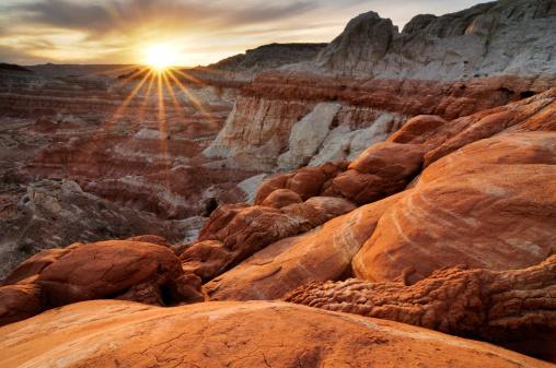 Sunset landscape at Paria Rimrocks, Utah, USA 181877837