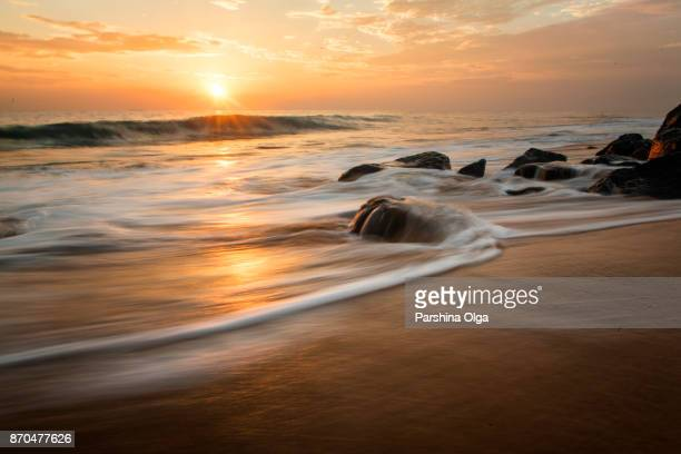 sunset landscape - tranquility stock pictures, royalty-free photos & images