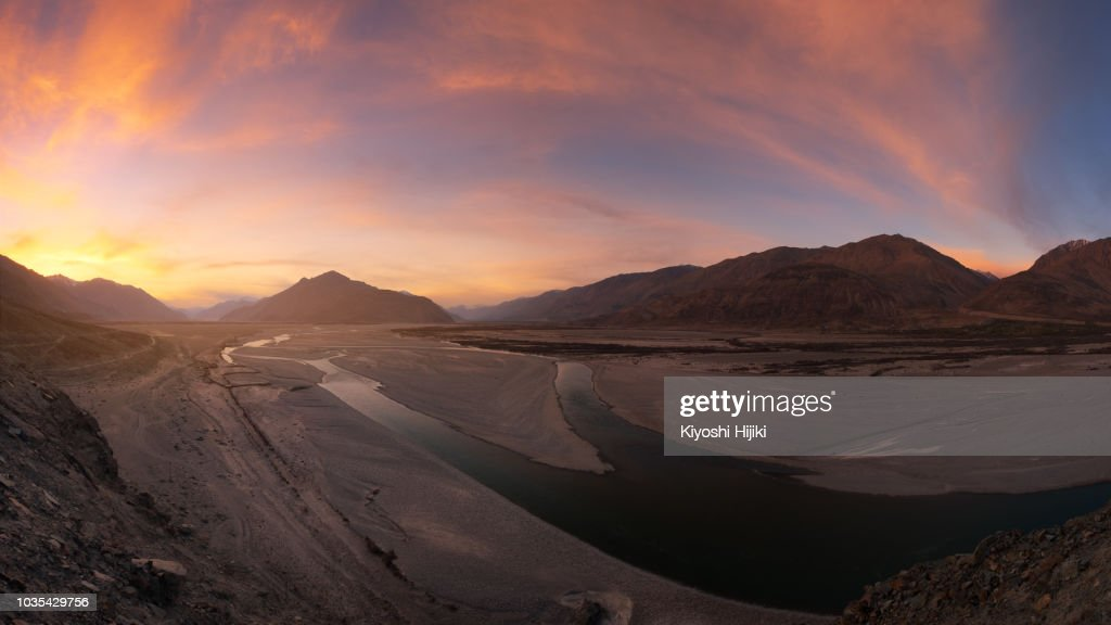 Sunset landscape view in Nubra valley, Ladakh, India : Stock Photo