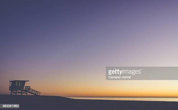Sunset Lifeguard Hut Venice Beach near Los Angeles