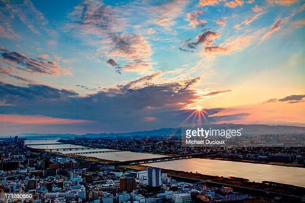 Sunset light and sky Upon Osaka Bay - Japan