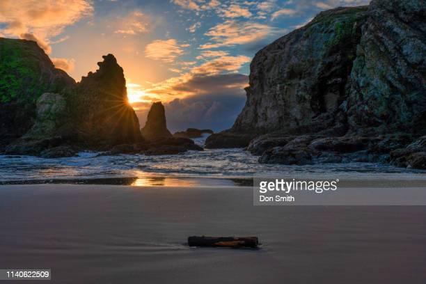 sunset light at coquille beach, bandon, oregon - don smith stockfoto's en -beelden