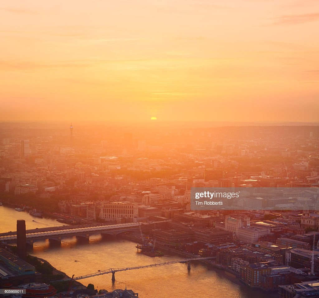 Sunset light in London. : Stock Photo