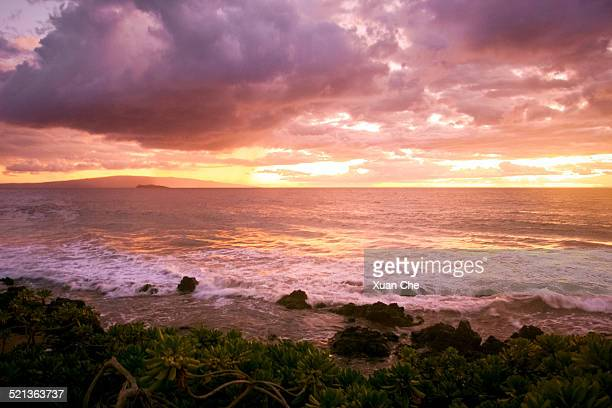 sunset light in maui - xuan che stock pictures, royalty-free photos & images