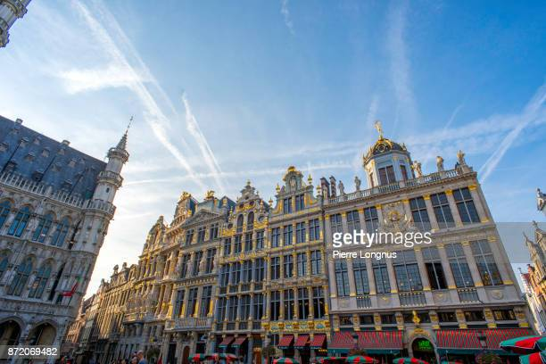 Sunset light on the facades of the 'Rue de la Tête d'Or' (English : Golden Head Street) view from the center The Grand Place, UNESCO World Heritage Site, Brussels, Belgium