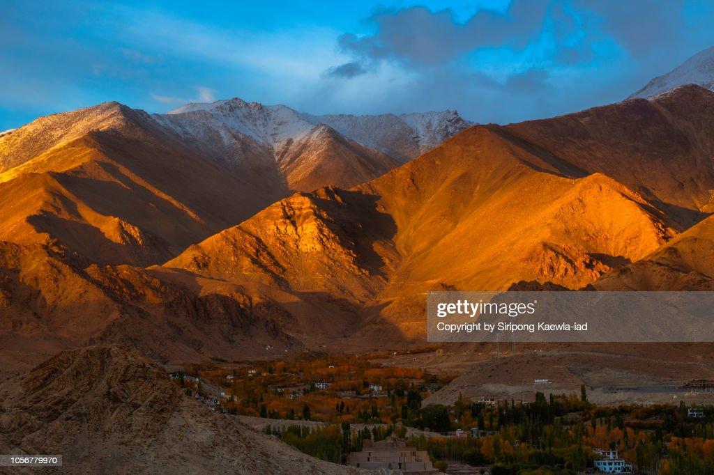 Sunset light on the mountain range in Leh city, Ladakh, India. : Stock Photo