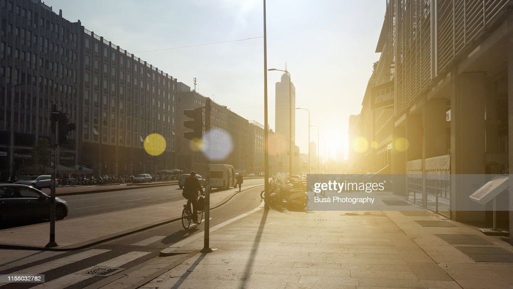 Sunset light on Via Vittor Pisani near Milan Central Station. Milan, Italy : Stock Photo