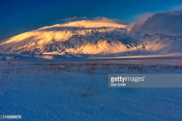 sunset light, snaefellsjokull, iceland - don smith stock-fotos und bilder