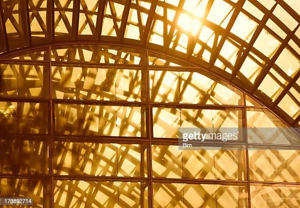 Sunset Light Streaming Through Glass Roof