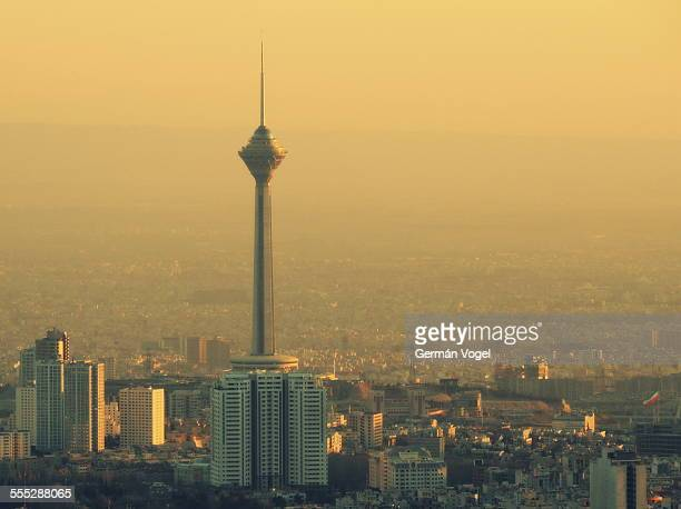Sunset light washes Tehran skyline