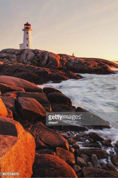 sunset lighthouse - atlantic ocean stock pictures, royalty-free photos & images