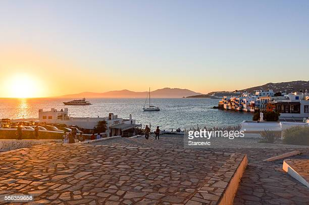 Sunset Little Venice in Mykonos Island - Greece