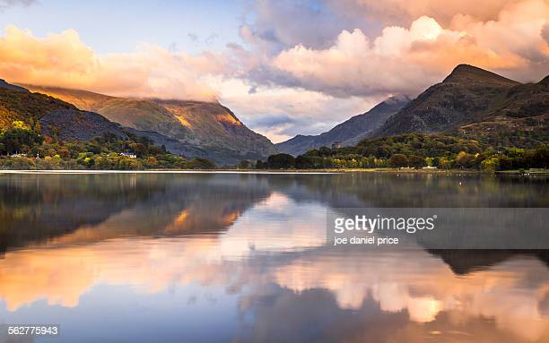 sunset, llanberis, snowdonia, wales - mount snowdon stock photos and pictures