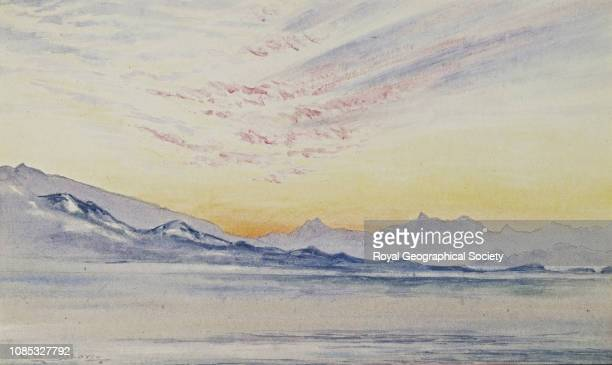 Sunset looking across McMurdo Sound, Autumn 1902, National Antarctic Expedition 1901-1904, Antarctica.