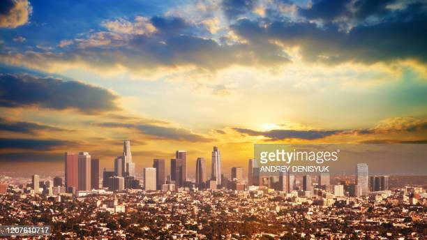 sunset. los angeles business downtown - city of los angeles stock pictures, royalty-free photos & images