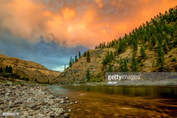 sunset, lower salmon river, idaho - idaho stock pictures, royalty-free photos & images