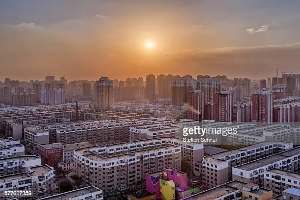 Sunset metropolis densely populated China Shenyang