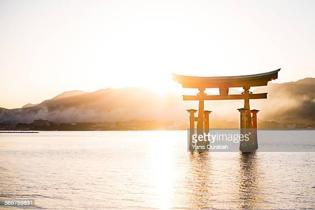Sunset Miyajima great torii gate, Itsukushima