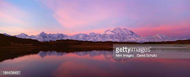 sunset, mount mckinley in denali national park, alaska reflected in reflection pond. - mt mckinley stock photos and pictures