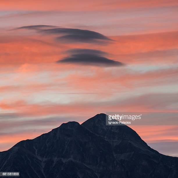 sunset, mountains near jasper - peach colour stock pictures, royalty-free photos & images