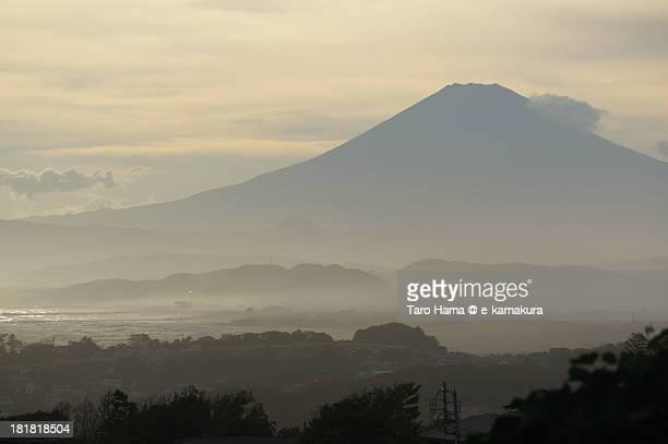 Sunset Mt. Fuji long-viewed from Kamakura