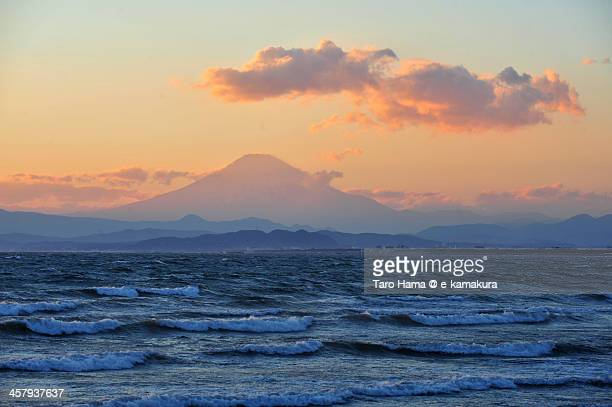 Sunset Mt.Fuji viewed from beach