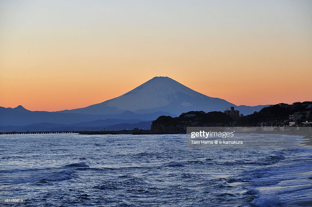 Sunset Mt.Fuji viewed from beach : Stock Photo