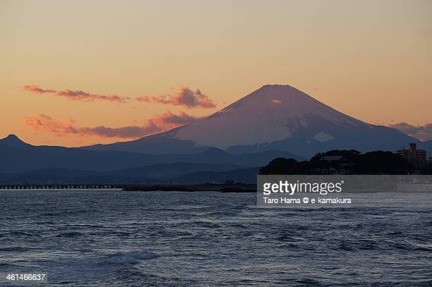 Sunset Mt.Fuji viewed from beach