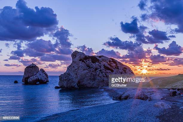 sunset near petra tou romiou (aphrodite's rock), cyprus - republic of cyprus stock pictures, royalty-free photos & images