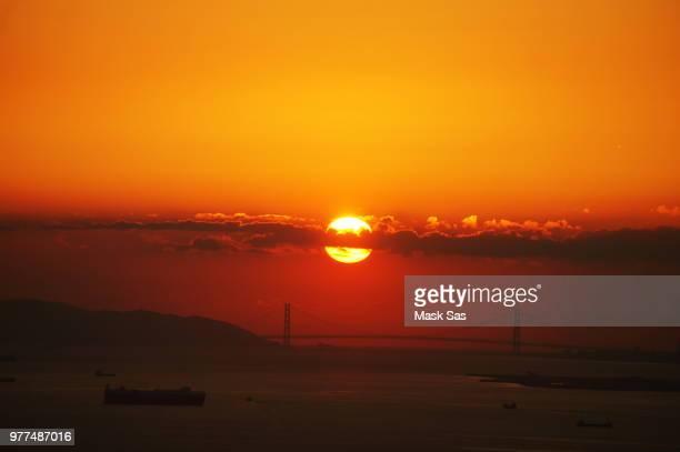 Sunset of Akashi Kaikyo Bridge