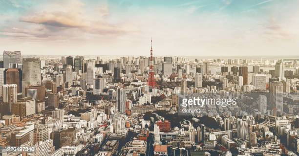 sunset of central of tokyo city, japan - olympic stadium stock pictures, royalty-free photos & images