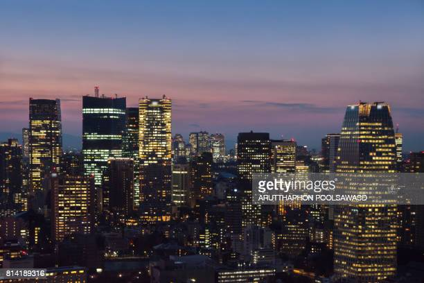 Sunset of cityscape tokyo downtown center city of kanto Japan