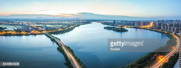 Sunset of Fuzhou city in the dream lake area