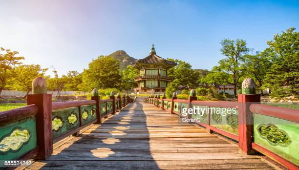 sunset of gyeongbokgung palace in seoul ,korea. - south korea stock pictures, royalty-free photos & images