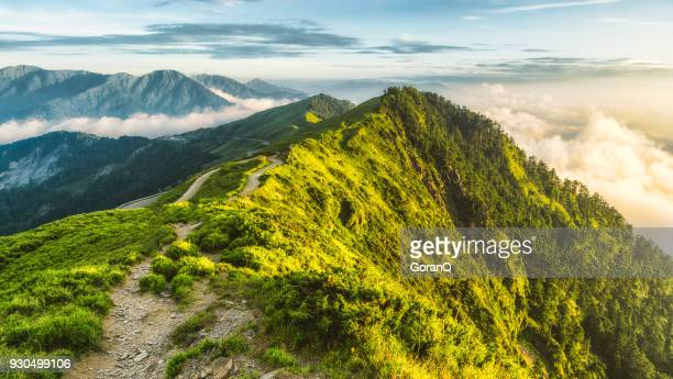 sunset of hehuanshan, taiwan - new taipei city stock pictures, royalty-free photos & images