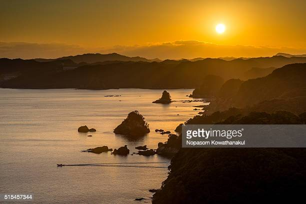 a sunset of obatayama - präfektur wakayama stock-fotos und bilder
