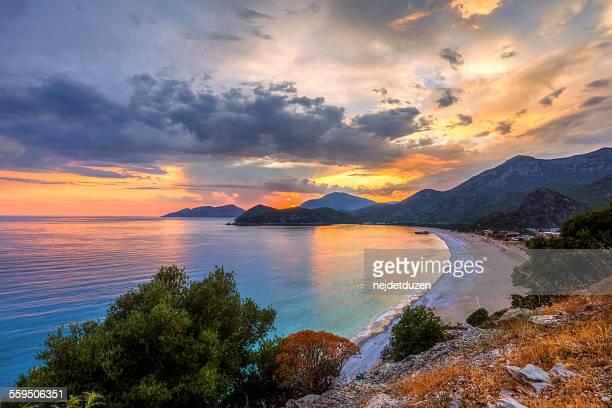 sunset of oludeniz, fethiye - mugla province stock pictures, royalty-free photos & images