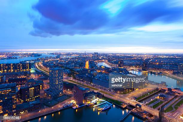 Sunset of Rotterdam Harbor,elevated view