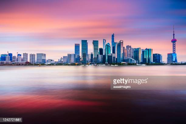 sunset of shanghai skyline - shanghai stock pictures, royalty-free photos & images
