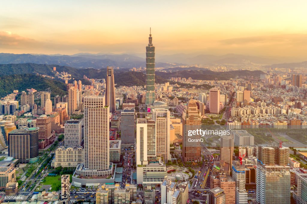 Sunset of Taipei city, Taiwan : Stock Photo