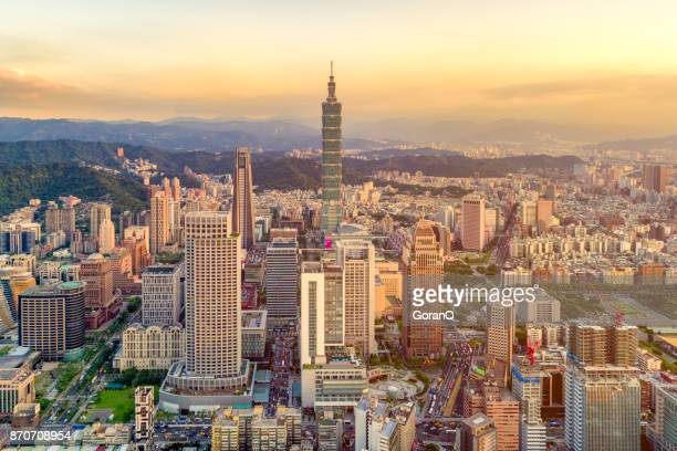 sunset of taipei city, taiwan - taipei stock pictures, royalty-free photos & images