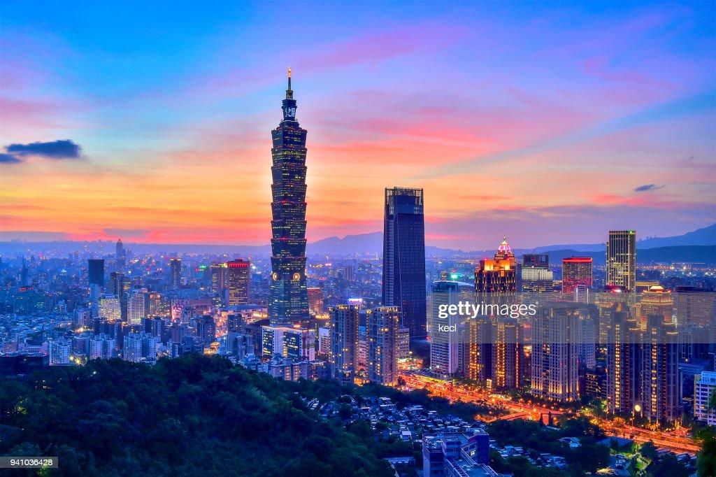 Sunset of Taipei : Stock Photo