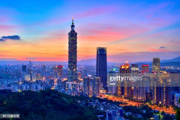 sunset of taipei - taiwan stock photos and pictures